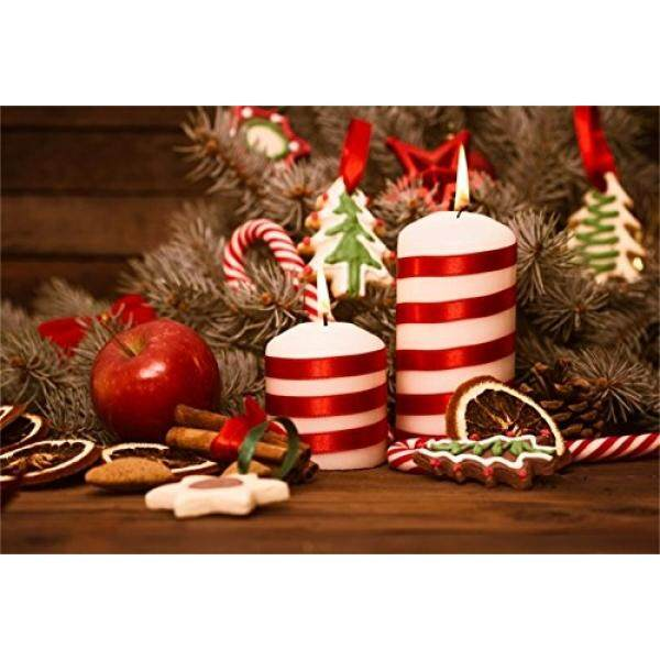 AOFOTO 7x5ft Christmas Backdrop Xmas Party Decoration Photography Background New Year Tree Gingerbread Candy Candle Kid
