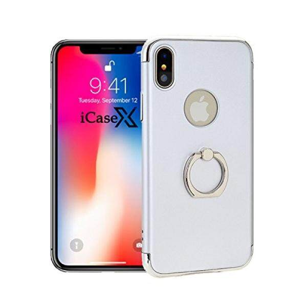 Apple iPhone X Silver Case Hard PC Back With 360 Degree Adjustable Finger Ring Stand Holder