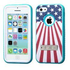 Asmyna VERGE Hybrid Protector Cover with Stand for Apple iPhone 5/5S - Retail Packaging - United States National Flag/Tropical Teal