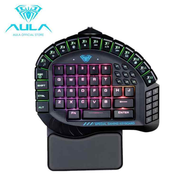 Nicetech AULA Master One-hand Gaming Keyboard Removable Hand Rest RGB Backlight Mechanical Keyboard Singapore