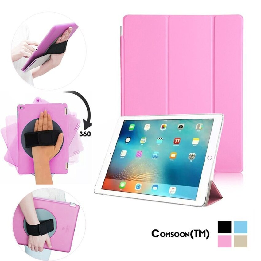 Auto Sleep/Wake iPad Pro Smart Case Cover with Rotating AdjustableHand Strap Holder. Detachable