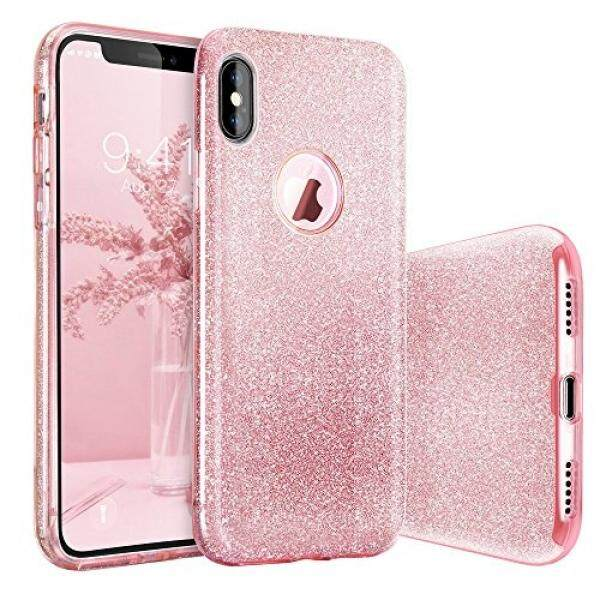 BASSTOP iPhone X Case, BASSTOP Luxury Bling Crystal Glitter Sparkle Phone Case Detachable 3 Layers Shockproof Hard PC Back Soft TPU Inner Shining Case for Apple iPhone X,iPhone 10 (Pink) - intl