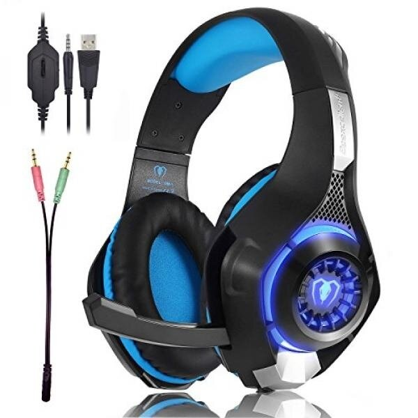 Beexcellent Gaming Headset GM-1 with Microphone for New Xbox 1 PS4 PC Cellphone Laptops Computer - Surround Sound, Noise Reduction Game Earphone-Easy Volume Control with LED Lighting 3.5MM Jack(Blue) - intl