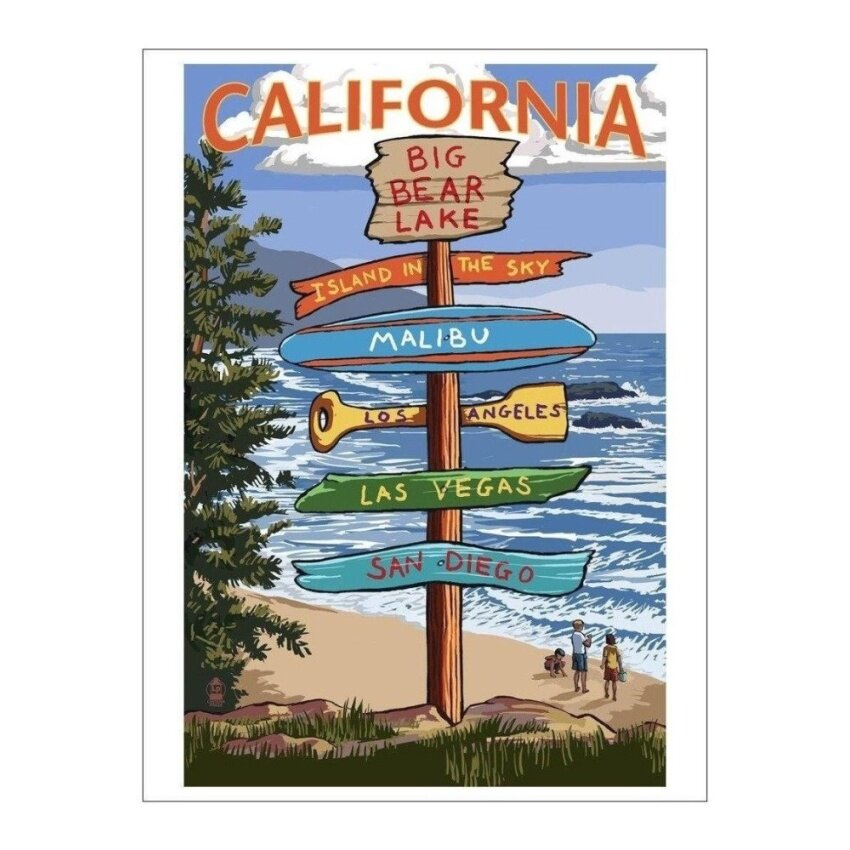 Big Bear Lake. California - Destination Signpost (Playing Card Deck- 52 Card Poker Size with Jokers) - intl