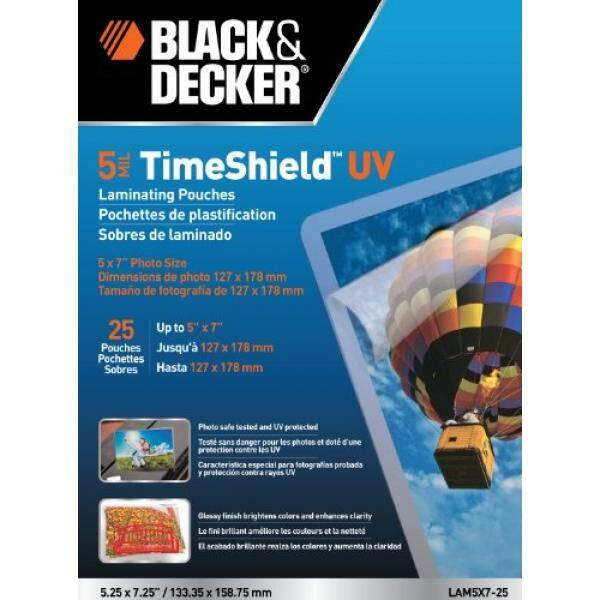 BLACK + DECKER TimeShield UV Thermal Laminating Pouches 5 x 7 Photo 5 mil - 25 Pack