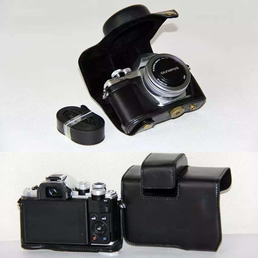 Hitam Kamera Kulit PU PENUTUP UNTUK Olympus E-M10 Menandai IIEM10II (14-42 Mm Lensa) sheng HOTT 808-Internasional