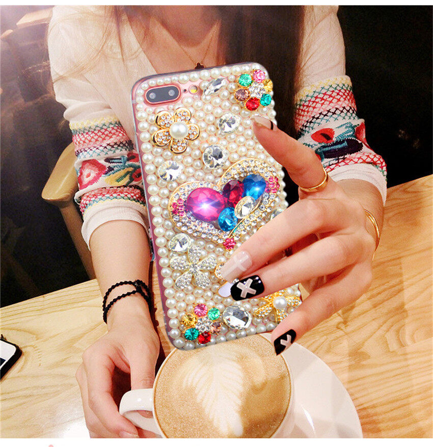 Bling Flower Pearl Rhinestone Phone Case For Huawei Honor 3C Play Colorful Crystal Diamond Soft Back Cover for Huawei Honor 3C Play - intl