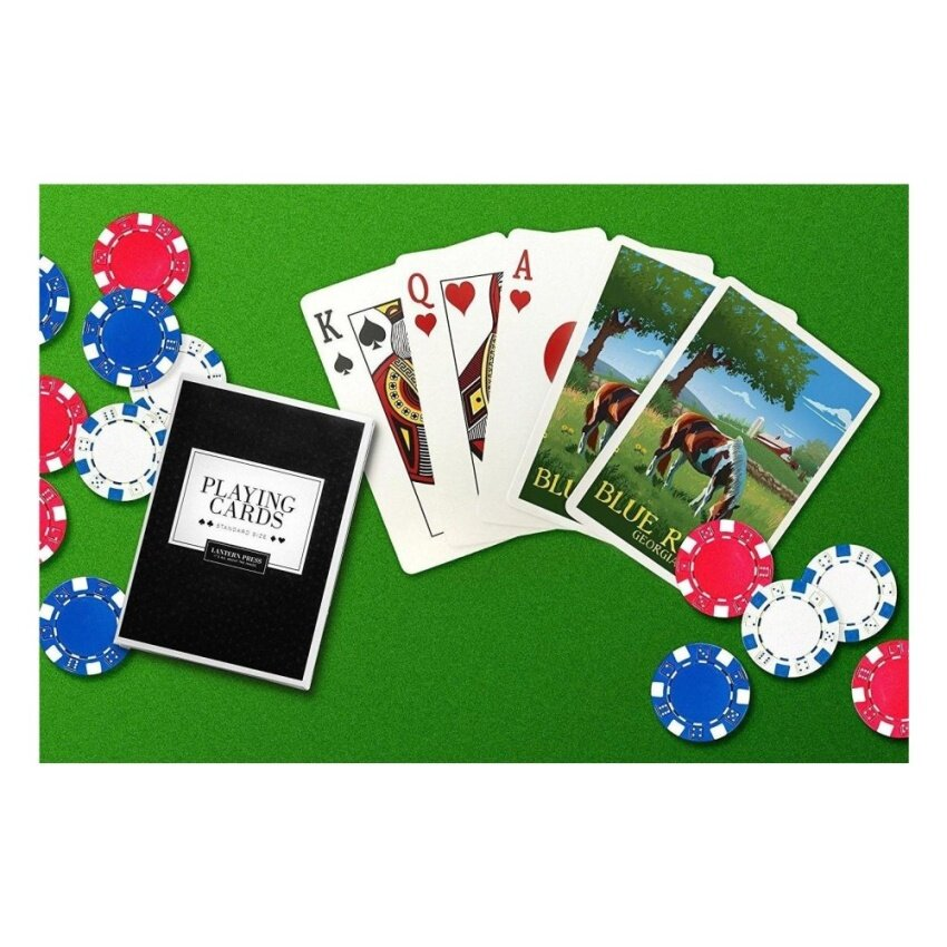 Blue Ridge. Georgia - Horse In Field (Playing Card Deck - 52 CardPoker Size with Jokers) - intl