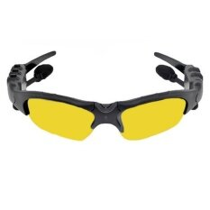 Bluetooth Headphone Sunglasses Handsfree Remote Selfie Smart Glasses (Yellow) (Black)(OVERSEAS)