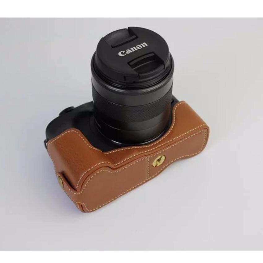 Versi Pembuka Bawah Pelindung Asli Asli Kulit Setengah Cameracase Tas Sarung dengan Tripod Desain untuk Canon EOS M3 EOSM3 Kamera -Internasional