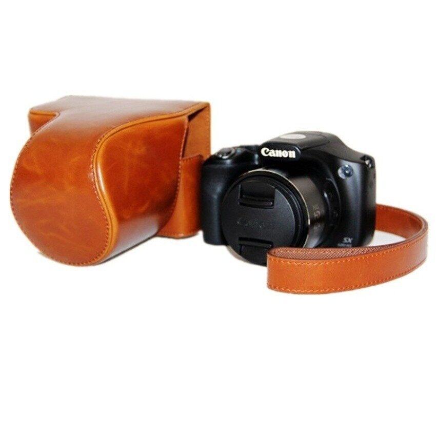 Kulit Coklat PU Tas Wadah Kamera PENUTUP UNTUK Canon SX520 dengan Tali Sheng HOTT 466-Intl