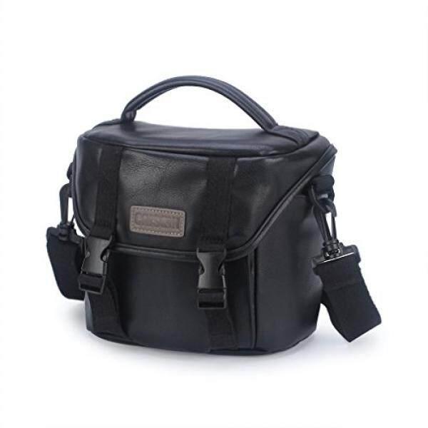 CAISON Synthetic Leather Camera Case Shoulder Bag for Mirrorless Camera Canon EOS M6 M5 M3 M10 / Panasonic Lumix DMC G80 GX8 G7 / Single Lens DSLR Camera NIKON D7500 D5600 D3400 / Canon EOS 200D 1300D - intl