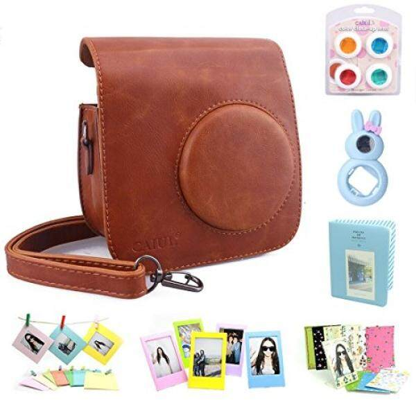 CAIUL CAIUL Compatible Mini 7s Case Bundle with Album, Filters & Accessories for Fujifilm Instax Mini 7s and Polaroid PIC-300 Camera (Brown, 7 Items) - intl