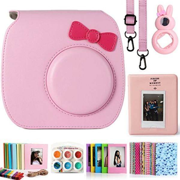 CAIUL CAIUL Compatible Mini 7s Case Bundle with Album, Filters & Accessories for Fujifilm Instax Mini 7s and Polaroid PIC-300 Camera (Pink, 7 Items) - intl