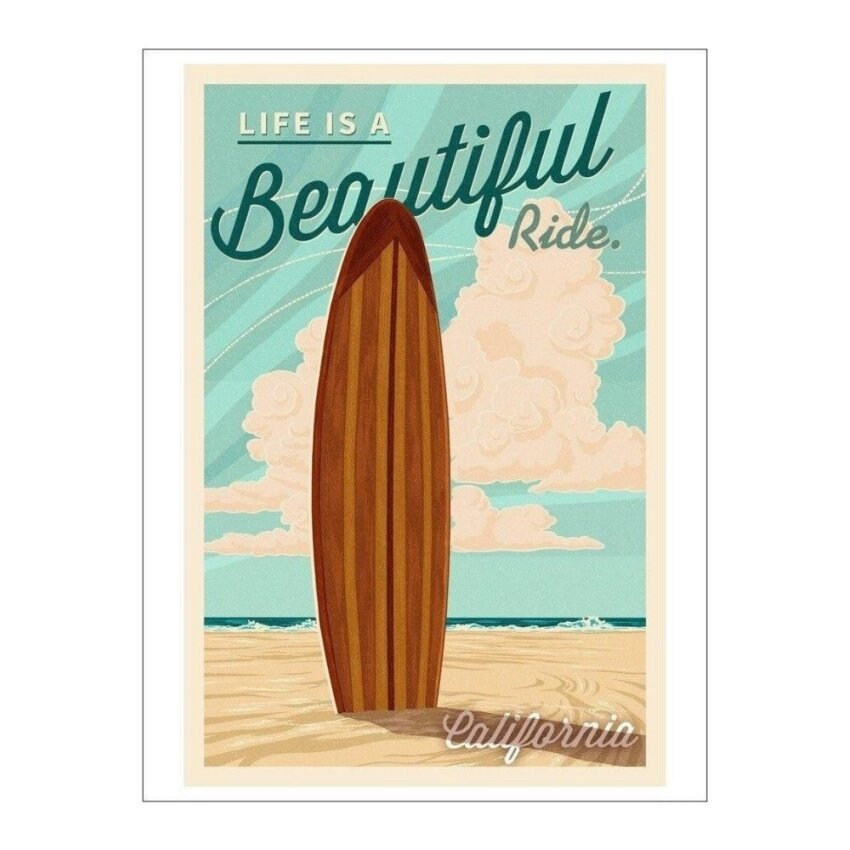 California - Life is a Beautiful Ride - Surfboard - Letterpress(Playing Card Deck - 52 Card Poker Size with Jokers) - intl