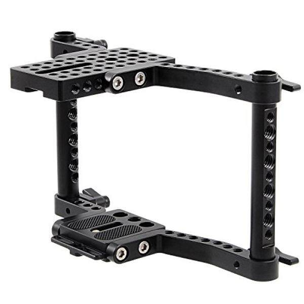 Camera Cage for Small DSLR Camera Canon 650D, 600D, 550D, 500D, 450D, 760D, 750D, 700D, 100D, 1200D, Nikon D3200 D3300 D5200 D5500, Sony a58, a7, a7II, Panasonnic GH4 GH3 GH2 - intl