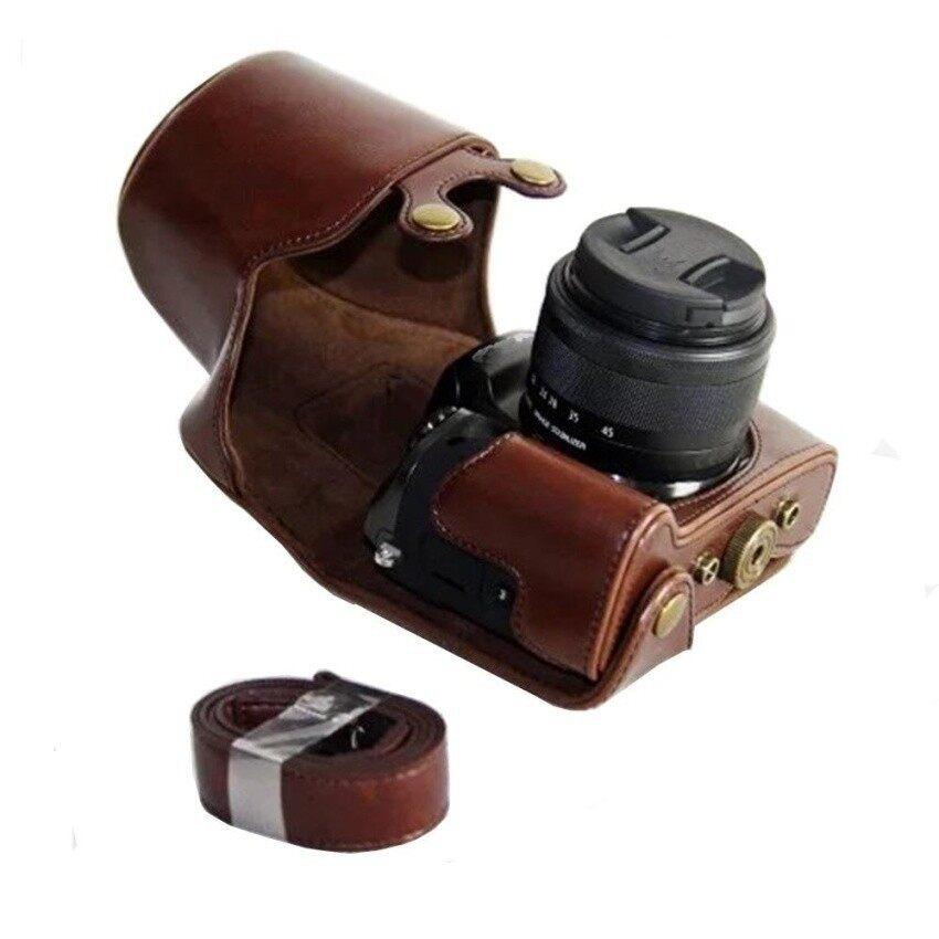 Sarung Kamera untuk Canon M5 Thiack PU Kulit Perlindungan Menyeluruh Casewithhard Pelat Logam Alas Bawah Baut Tripod Strap Bahu Sheng HOTT 294-Intl