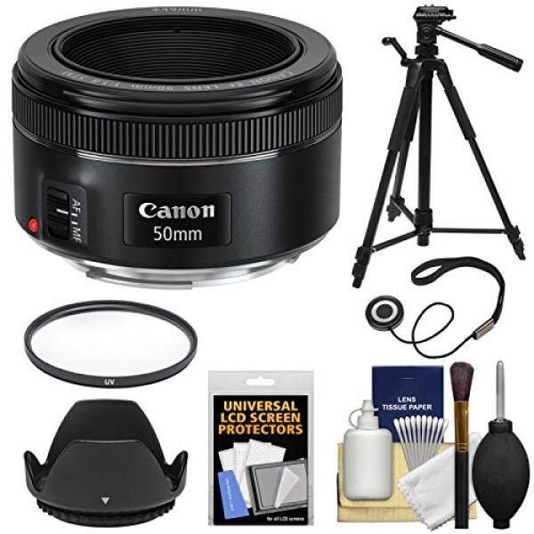 Canon EF 50mm f/1.8 STM Lens + Filter + Lens Hood + Tripod Kit for EOS 6D, 70D, 7D, 5DS, 5D Mark II III, Rebel T3, T3i, T5, T5i, T6i, T6s, SL1 Camera - intl