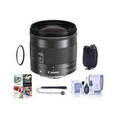 Canon EF-M 11-22mm f/4-5.6 IS STM Lens - Bundle with 55mm Filter Kit, Lens Case, Cleaning Kit, Cap Leash, Software Package