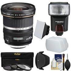 Canon EF-S 10-22mm f/3.5-4.5 USM Ultra Wide Angle Zoom Lens + Flash + 3 Filters + Diffusers + Hood Kit for EOS 70D, 7D, Rebel T5, T5i, T6i, T6s, SL1 Camera