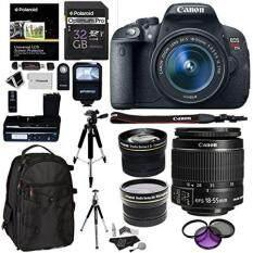 Canon EOS Rebel T5i + 18-55 IS STM Digital Camera + Polaroid LCD Grip + Polaroid Telephoto & Wide Angle Lenses + Lexar 64GB 633x SDHC Card + Ritz Gear Camera Backpack Premium Bundle