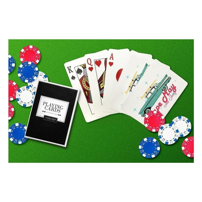 Cape May. New Jersey - Retro Chevy (Playing Card Deck - 52 CardPoker Size with Jokers) - intl