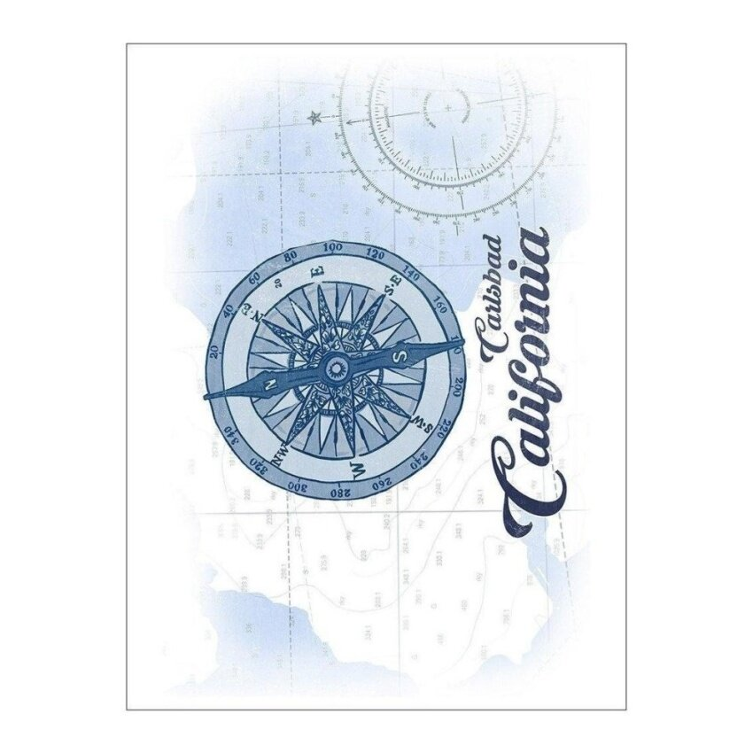 Carlsbad. California - Compass - Blue - Coastal Icon (Playing CardDeck - 52 Card Poker Size with Jokers) - intl