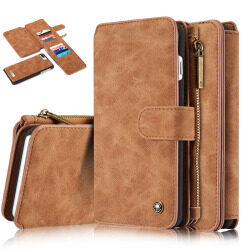 CASEME for iPhone 7 Plus 2-in-1 Inner PC 14 Slots Genuine Split Leather Wallet Case - Brown