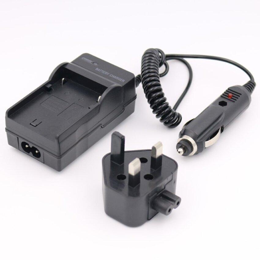 CGA-S007 AC + DC Charger DE-A45B untuk Panasonic Lumix DMC-TZ3DMC-TZ4DMC-TZ5 Digital Camera (HITAM