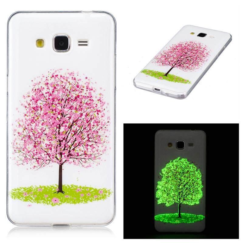 Cherry Tree Noctilucent TPU Lembut Kantong Gas Casing Belakang Penutup untuk Samsung Grand Prime G5308W G530
