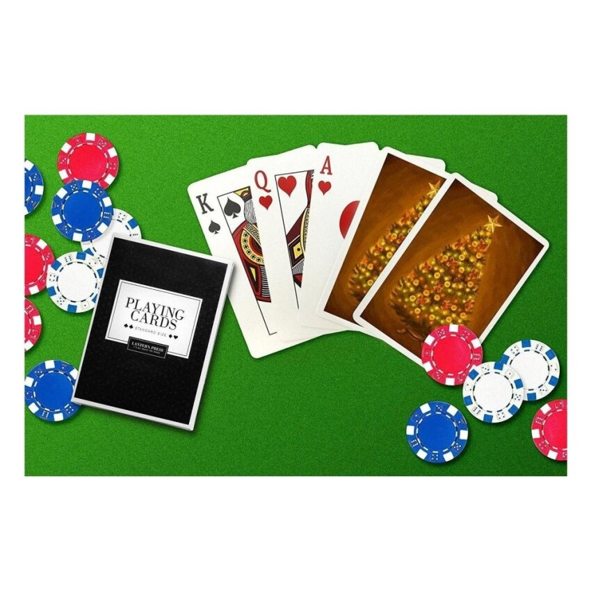 Christmas Tree - Christmas Oil Painting (Playing Card Deck - 52Card Poker Size with Jokers) - intl