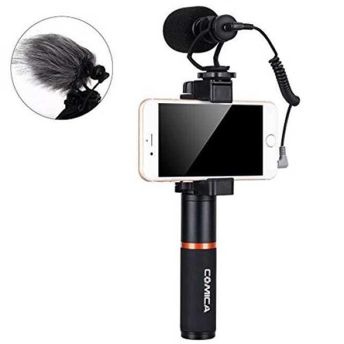 Comica CVM-VM10-K1 Profesional Smartphone Aksesori Video dengan Tembakan Mikrofon Video, Gagang Pegangan untuk iPhone X/8/7/6, LG, Samsung GALAXY Catatan dan Banyak Lagi