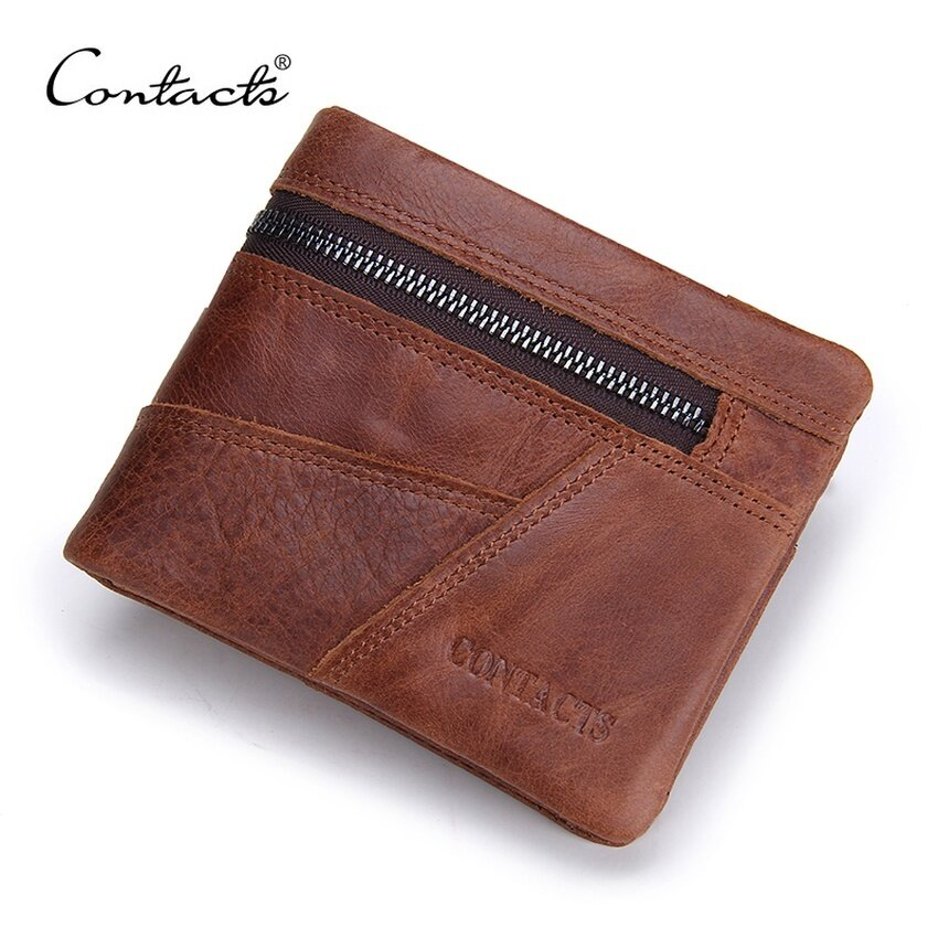 Hình ảnh CONTACTS Vintage Men Wallet Genuine Leather Patchwork Men PurseHighClass Small Wallet With Deleted Coin Pocket Photo Holder - intl