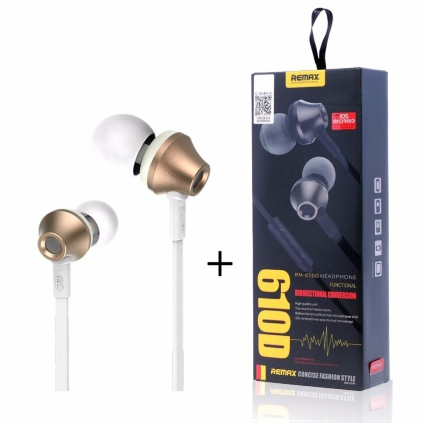 Coowalk Remax 610D High Performance Earphones In-Ear HeadphonesPatent Designed With [IOS/Android