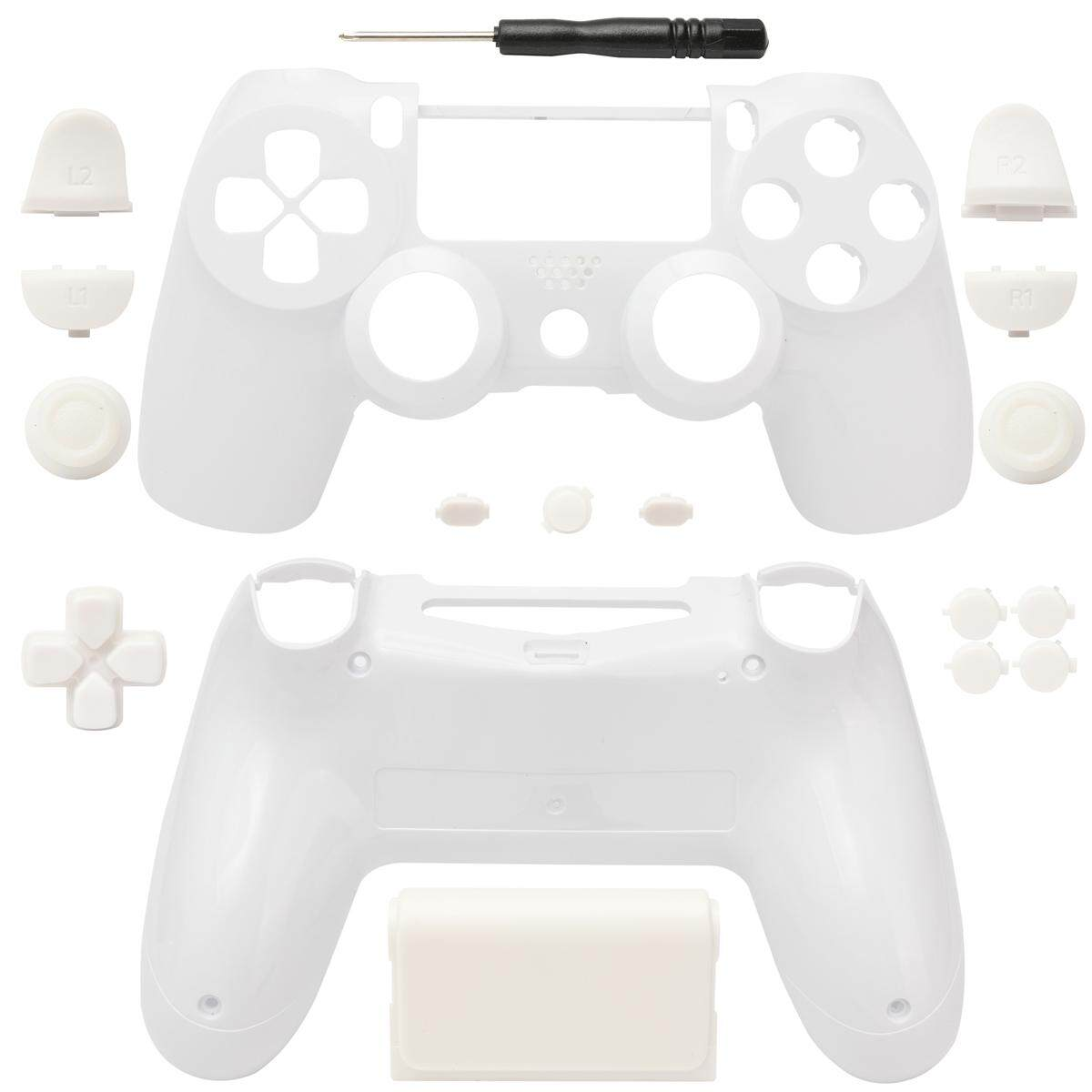 Customized Full Housing Shell Buttons Mod Kits for PS4 Controller Solid White - intl