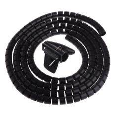 D15mm PE Spiral Wire Wrap Computer Cord Protector Cable Winder Clip Organizer (Black) Malaysia