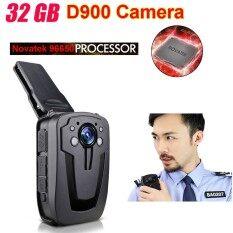 D900 Novatek 96650 32 GB Full HD 1080 P Police Body Kerah Dipakai Perekam Kamera Video DVR IR Kamera Malam 6 Jam catatan