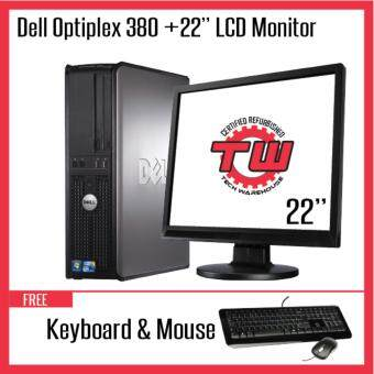 "Dell Optiplex 380 Core 2 Duo Desktop PC (Factory Refurbished) + Windows 7 Pro + 22"" LCD"