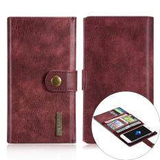 DG.MING for iPhone 7 Multiple 12 Card Slots Split Leather Wallet + PC Cover - Red
