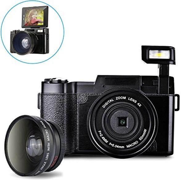 Digital Kamera Camcorder, weton Full HD 1080 P Kamera Video 24.0MP 3.0 Inch Flip Layar Kamera Vlog LCD Camcorder Mini dengan Lensa Sudut Lebar Lensa dan flash Light-Intl