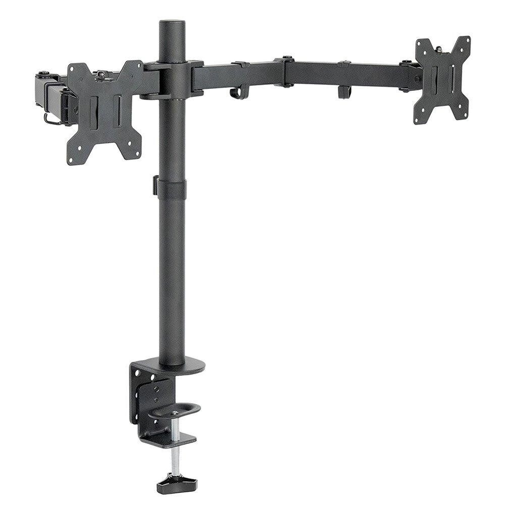 Dual LCD LED Monitor Stand Two Arms Desk Mount Heavy Duty Fully Adjustable Fits 2 / Two Screens up to 27 - intl