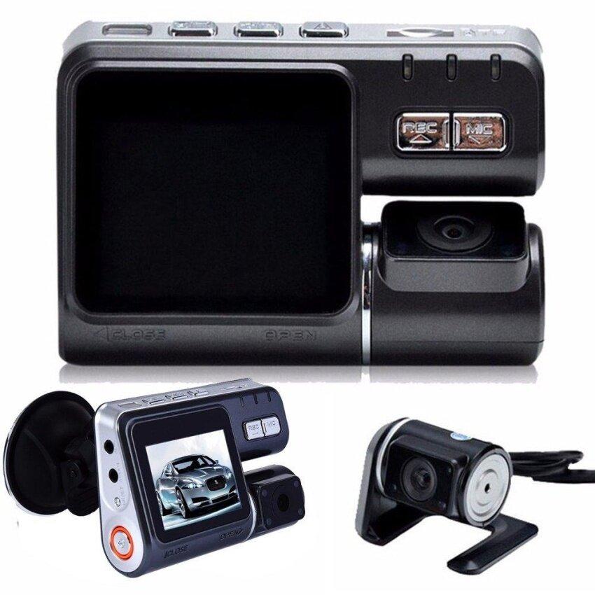 Dua Lensa Mobil Kamera DVR I1000S Full HD 1080 P 2.0 LCD Dash Cam + Kamera Belakang + 8 Lampu LED IR Modus Malam H.264 Perekam Video- internasional