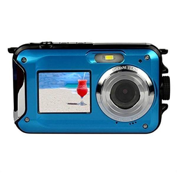 Dual Layar Kamera Kingear 24 MP Depan dan Belakang Hidup Tahan Air Kamera Digital-Biru-Intl