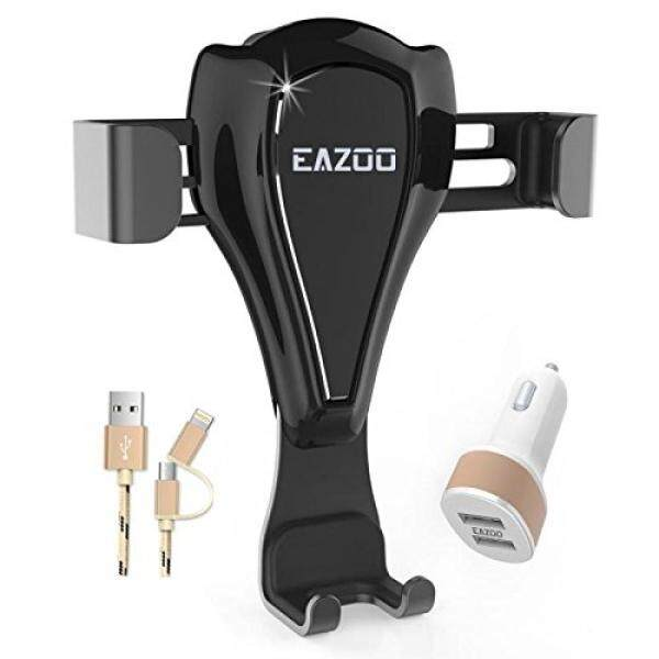 Eazoo Gravity Car Phone Auto Mount Holder for Air Vent, Smart Port Car Charger, Lightning and Micro USB Cable Set for iPhone X 8 8S 7 7 Plus Samsung Galaxy S8 Plus Edge LG and more Driver Accessories - intl