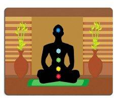 ELong station sold  Mouse Pad Gaming Mouse pad Natural Rubber mouse mat Yoga lotus pose Padmasana with colored chakra points M0A06680 Malaysia