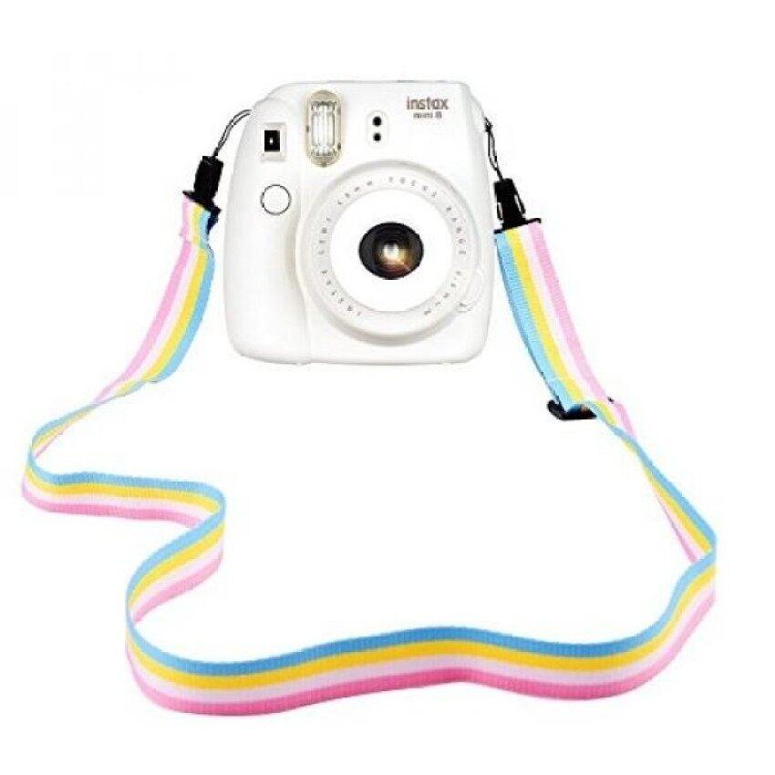 Elvam Kamera Tali Selempang Bahu dan Leher Sabuk Di Rainbow Putih Kuning Biru Warna Pink untuk Kamera Digital/Kamera Fujifilm Instax Kamera Mini 9/Mini 8/Mini 8 +/Mini 7 S/Mini 25/Mini 50 S/Mini 90- internasional