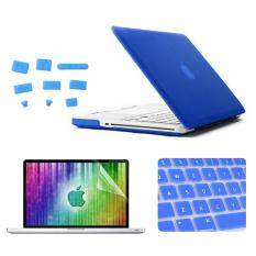 ENKAY for MacBook Pro 13.3 inch (US Version) / A1278 4 in 1 Frosted Hard Shell Plastic Protective Case with Screen Protector & Keyboard Guard & Anti-dust Plugs(Dark Blue)