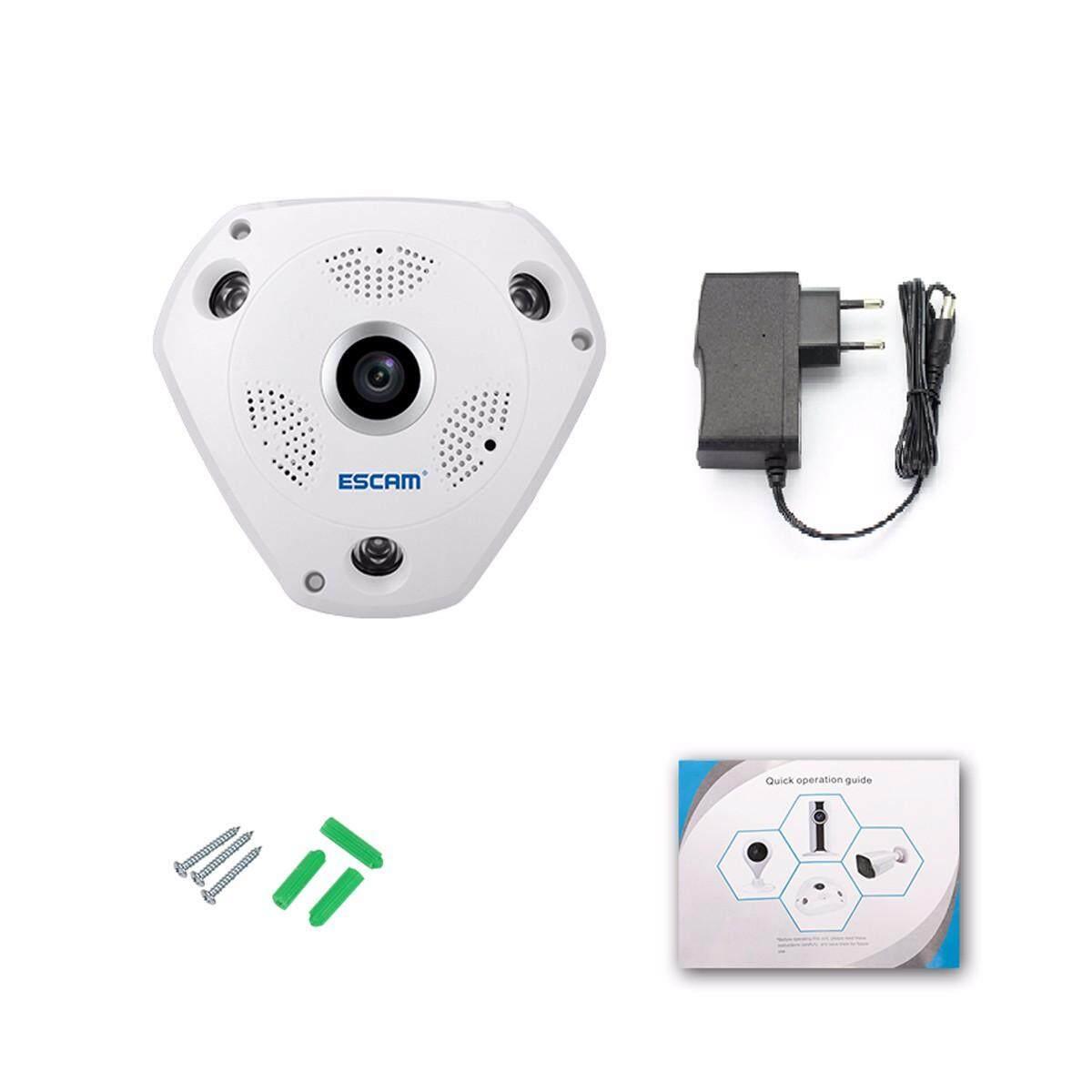 ESCAM Fisheye Camera Support VR Box QP180 Shark 960P IP WiFi Camera 1.3MP 360 Degree Panoramic Infrared Night Vision Camera - EU Plug - intl