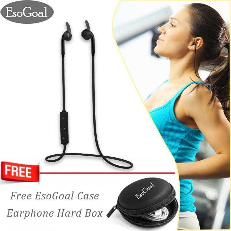Esogoal Headphone Bluetooth Wireless Olahraga Bantalan Telinga Gym Headset Menjalankan Earphone Tahan Keringat Headseat untuk Olah