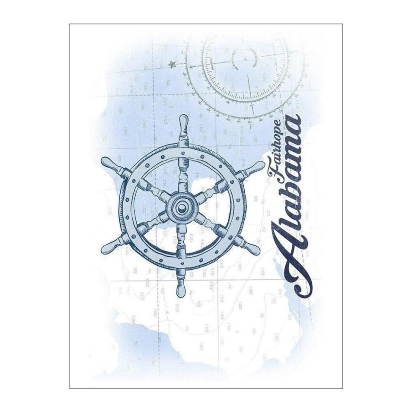 Fairhope. Alabama - Ship Wheel - Blue - Coastal Icon (Playing CardDeck - 52 Card Poker Size with Jokers) - intl